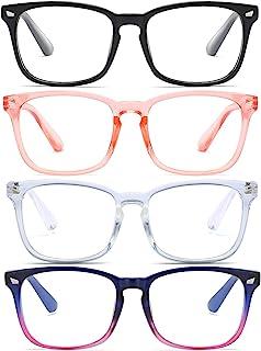 RIVTUN 蓝光眼镜,4 件装方形非*电脑眼镜,UV400 透明镜片眼镜
