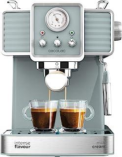 Cecotec Power Espresso 20 Tradizionale 浓缩咖啡机 1350 W 20 巴压力计 加热块 咖啡茶 环保无胶囊 奶泡器 Twin Tamper 咖啡勺 复古设计 不锈钢 薄荷绿