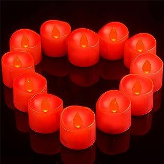 Ymenow LED 红茶灯,12 个电池操作无焰茶蜡,带 6 小时计时器闪烁许愿蜡烛灯(3.6 厘米 × 3.6 厘米)适用于家庭房间派对节日装饰 – 红色