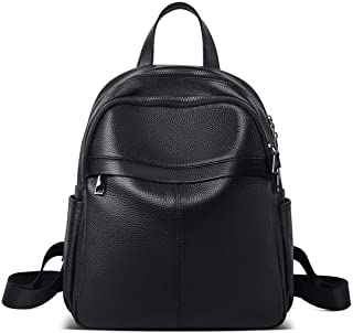 FOXER 女式皮革背包,真皮女士时尚帆布背包,可调节肩带,可转换真皮旅行包女式多功能背包钱包(黑色)