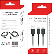 2 合 1 充电线 RALAN,10 英尺(约 3.1 米)微型 USB 充电线高速数据同步线适用于 PS4,PS5,Nintendo Switch,Switch Lite ,Switch Pro Xbox One 系列 X 控制器