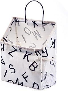 壁挂式储物袋,防水门上衣柜收纳袋挂袋亚麻棉收纳箱,适用于卧室、浴室(字母)