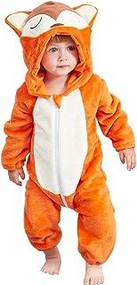 IDGIRLS 中性款婴儿连帽连衫裤法兰绒动物连身衣角色扮演服装