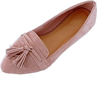 Guilty Heart 女式流苏懒人鞋舒适尖头牛津乐福鞋采用麂皮绒帆布休闲平底鞋