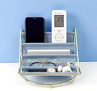 Baffect 遥控支架收纳盒,皮革桌面收纳带 4 个隔层,珠宝太阳镜的入口存储钥匙电视遥控架文具架(蓝色)