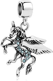 SexyMandala 独角兽马动物魔法幸运魅力方晶锆石手镯 适用于潘多拉吊坠手链
