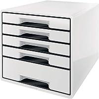 Leitz 利市 5 A4 抽屉柜,带标记笔和透明托盘,收纳架,Wow 范围,白色/黑色