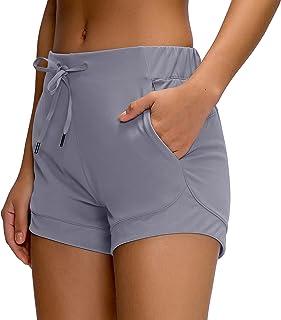 Boladeci 女式夏季锻炼瑜伽跑步短裤瑜伽短裤带口袋徒步短裤