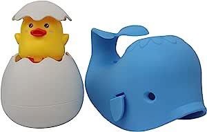 儿童浴缸喷嘴罩 - 浴室水龙头浴缸盖保护宝宝,同时享受乐趣。 可爱的柔软鲸鱼,享受*洗澡,孩子会爱上它。 浅蓝色 1 Pack with Bonus Toy