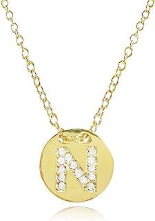可包装镀金首字母吊坠项链,字母 N