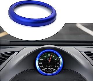 Lanyun 仪表板中心时钟指南针盖兼容保时捷卡宴拳击手 911 Macan Panamera 配件保时捷徽章铝制环贴纸蓝色