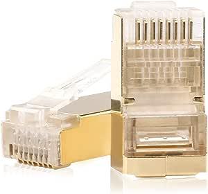 SHD Cat6 连接器 Cat5e 连接器 Cat5 连接器 RJ45 端以太网电缆压接连接器RJ-50G