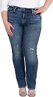Silver Jeans Co. 女式加大码直筒修身中腰牛仔裤