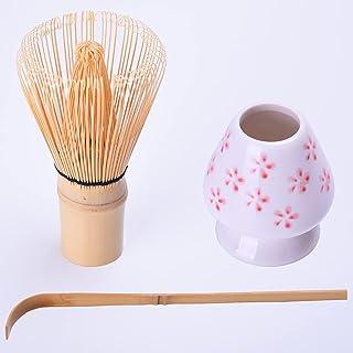 抹茶搅拌器套装 - 竹制搅拌器和支架,茶勺(抹茶搅拌器 100 爪)-日式抹茶套装,抹茶碗,陶瓷搅拌器