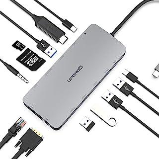 UPGROW USB C 集线器,13 合 1 Type-C 集线器,配有 4K HDMI,VGA,2 个 USB 3.0,3 个 USB 2.0,USB C/F,USB C 充电器,SD/TF,RJ45 以太网,麦克风/音频,USB C 扩展...