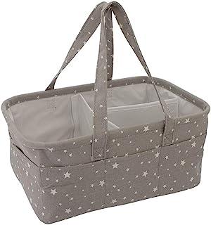可折叠婴儿尿布篮,大收纳袋手提包,适合男宝宝或女孩,育儿必备(灰色)