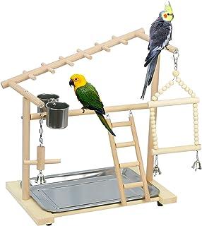 Lilithye 天然木材鸟游乐场鹦鹉鸟站游戏支架适用于鹦鹉锥体鹦鹉鹦鹉鹦鹉鹦鹉鹦鹉鹦鹉、笼顶鸟游乐场、鸟桌面游戏架