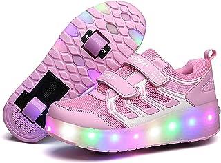 Ufatansy 滚轮鞋 USB 充电轮滑鞋女孩男孩 LED 发光运动鞋带轮子儿童*佳礼物