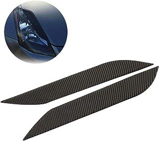 NewYall 2 件套碳纤维前照灯眉毛盖模制保护贴花装饰