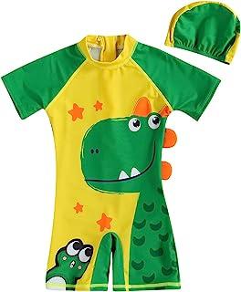 Qpap 幼儿儿童男童恐龙卡通泳装*服短袖连体拉链日光服