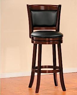 Benzara 木制酒吧凳,带软垫座椅,棕色