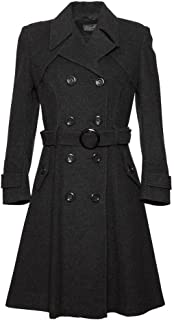 De La Creme 女士羊毛和羊绒冬季长款腰带外套