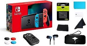 Nintendo 任天堂 Switch 32GB 控制台视频游戏霓虹红和蓝色 Joy-Con,1080p 分辨率,802.11ac WiFi,HDMI 环绕声,红外运动摄像机 - W/GM 128GB SD 卡 + 13 合 1 *套件盒