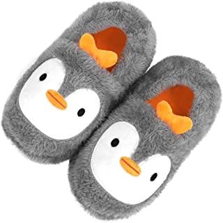 男孩女孩家居拖鞋幼儿可爱卡通毛绒毛绒家居拖鞋冬季保暖防滑一脚蹬室内/室外鞋