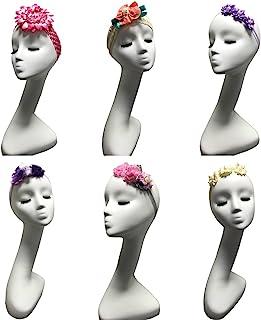 6 件套女婴头巾可爱花朵发带手工制作新生儿头巾