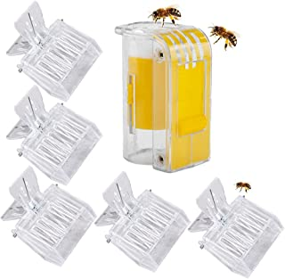 Dualshine 5 件塑料夹 养蜂工具 蜜蜂笼 女王 透明夹 带蜜蜂标记瓶 用于拆分箱养蜂人标记工具