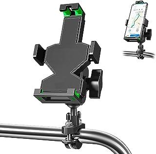 铝制摩托车手机支架防抖自行车手机支架 U 型螺栓基座车把手机支架带 360° 旋转可调节适合 1.5-3.4 厘米车把