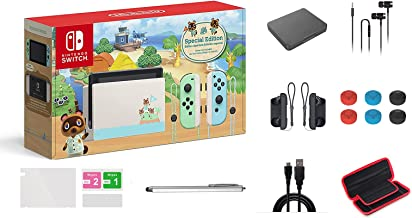 Nintendo 任天堂 Switch Animal Crossing: New Horizons Edition 32GB 控制台套装,淡*和蓝色 Joy-Con,6.2 英寸触摸屏液晶显示屏,家庭和节日礼品,W/ GM 14 合 1 Sup...