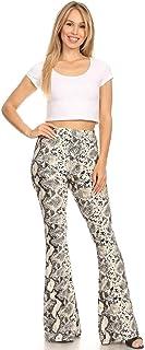 SWEETKIE 波西米亚喇叭裤,弹性腰围,女式阔腿裤,纯色印花,有弹力柔软 灰色 1181 Large