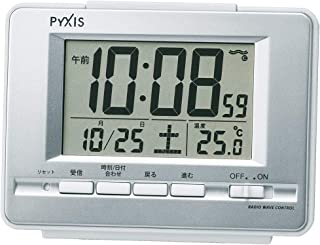 Seiko 精工 座钟 01:银色金属 主体尺寸:9.0×12.3×4.6cm 电波 电子 温度显示 PYXIS BC411S