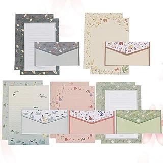 YARNOW 书写文具纸套装 花朵图案内衬信纸和信封套装 装饰空白信封 适用于婚礼问候(混合颜色)