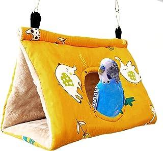 Keersi 鸟温暖巢悬挂吊床帐篷玩具适用于宠物鹦鹉小鹦鹉鹦鹉鹦鹉鹦鹉锥体鹦鹉非洲灰色亚马逊Lovebird Finch Canary Hamster Rat Gerbil Chinchilla Cage Perch (M,黄色)