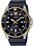 Casio 卡西欧 男式 潜水灵感 不锈钢石英树脂表带 黑色 25.6 休闲手表 (型号:MDV-106G-1AVCF)