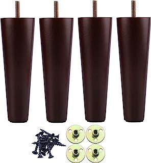 20.32 厘米木制家具腿沙发腿 4 件套,棕色木质家具脚沙发腿,中世纪现代梳妆台替换脚 适用于椅子、橱柜、扶手桌或家庭 DIY 项目圆筒脚