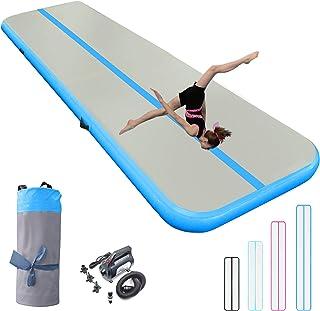 充气体操垫 10/13/16/20 英尺厚翻腾跳跃空气地板 4/8 英寸适合家庭使用/训练/健身/水上乐趣/瑜伽带气泵*/粉色/蓝色/黑色(蓝色,20 英尺3 英尺8 英寸(6×1×0.2 米))