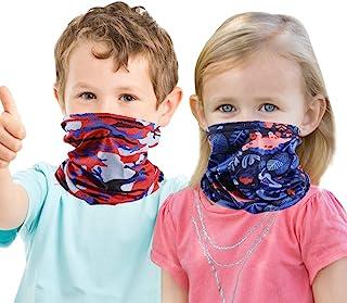 2 件装儿童颈部绑腿头巾面罩防风,适合男孩女孩