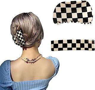 发夹 香蕉发夹 适合女士女孩 复古设计 经典黑白色格子印花发夹 几何方格夹 适合厚薄卷直发(2 件装)