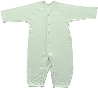 Baby Story 伸缩性长袖前开式连体婴儿服 双面罗纹 日本产 N77613 萨克斯 75-90