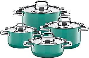 Silit 锅具套装4件套 自然绿色 金属控制盖 德国制造,Silargan®功能陶瓷 适用于电磁炉,洗碗机