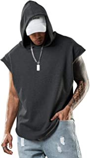 男式健身连帽衫无袖肌肉衬衫连帽衫击球者T恤健身房用