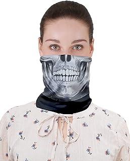 CowCow 成人狂歡口罩 Digtal 印花無縫面具頭巾適用于灰塵、節日、運動 黑色印花 One Size