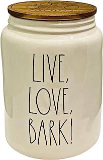 MAGENTA RAE DUNN BY MAGENTA 陶瓷宠物/狗零食罐/罐 | 带木盖刻字: 生活、爱、烧烤!