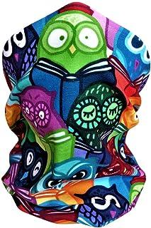 儿童面罩头巾围巾巴拉克拉法帽颈部绑腿猫头鹰适用于骑行徒步运动户外,可水洗,可重复使用