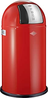 Wesco Pushboy Waste Can, 13.2-Gallon, Red