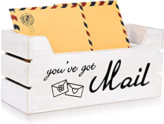 Monrocco 乡村风格邮件收纳包 - 装饰木制邮件夹带悬挂硬件、墙壁邮箱信夹邮件分类器适用于台面家庭办公室厨房