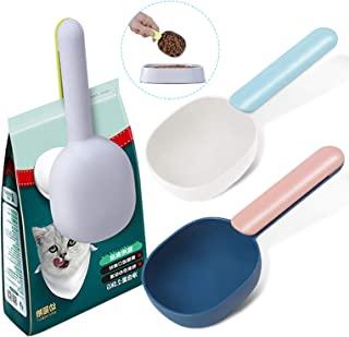 3 件狗粮勺带袋夹,塑料食品勺 1 杯适用于宠物/猫,带长手柄袋夹,宠物喂食用品的食物量勺,多功能家用咖啡量杯